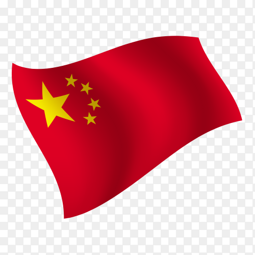 China flag waving vector on transparent background PNG