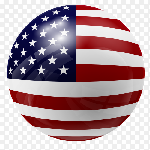 Circle glossy american flag vector transparent PNG