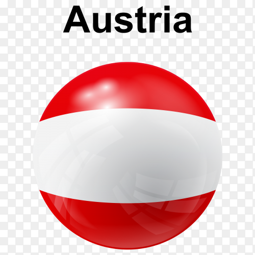 Circle glossy flag Austria transparent PNG