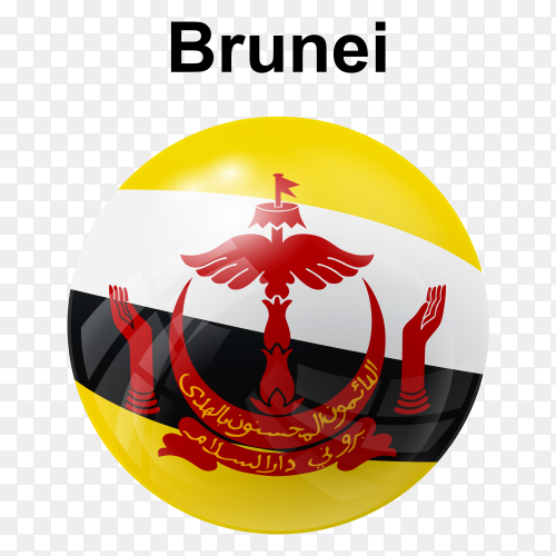 Circle glossy flag Brunei transparent PNG