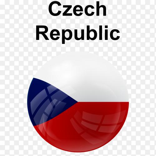 Circle glossy flag czech republic transparent PNG