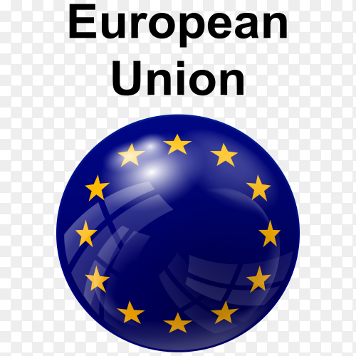Circle glossy flag european union transparent PNG
