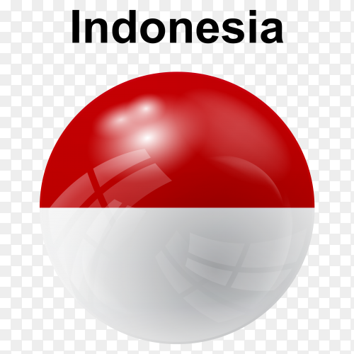 Circle glossy flag indonesia transparent PNG