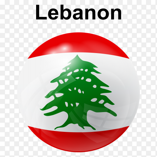 Circle glossy flag lebanon transparent PNG