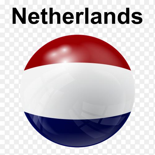 Circle glossy flag netherlands transparent PNG