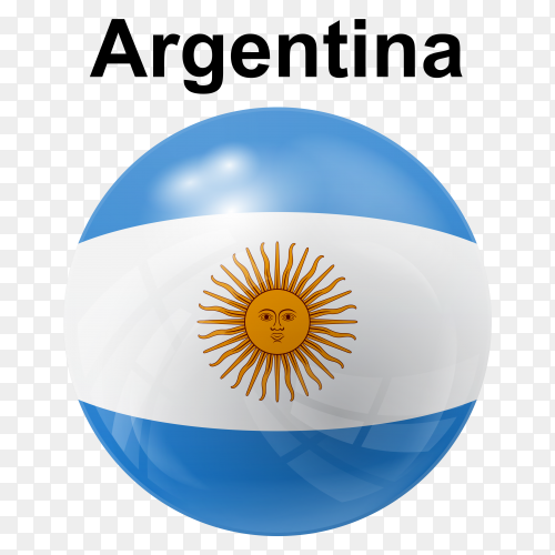 Circle glossy flag of Argentina on transparent background PNG
