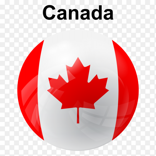Circle glossy flag of Canada on transparent background PNG