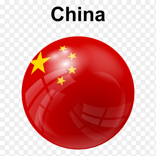 Circle glossy flag of China on transparent background PNG