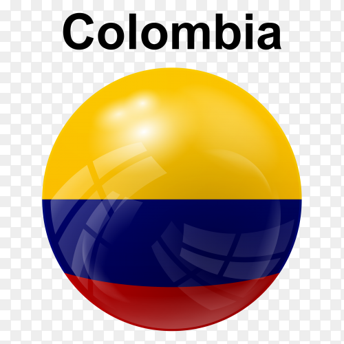 Circle glossy flag of Colombia on transparent background PNG