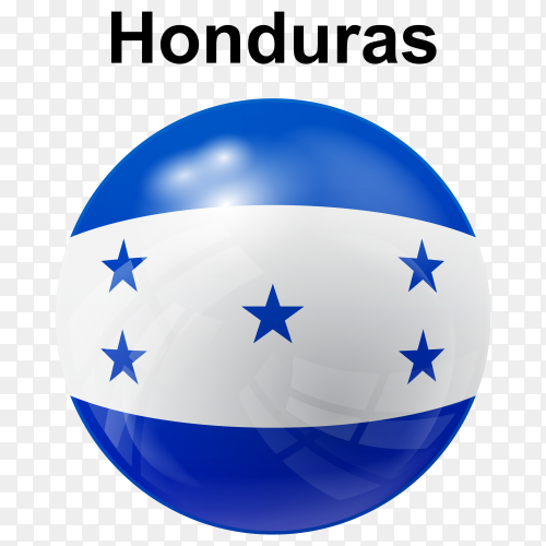 Circle glossy flag of Honduras on transparent background PNG