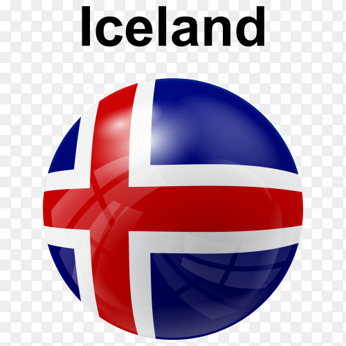 Circle glossy flag of Iceland transparent PNG