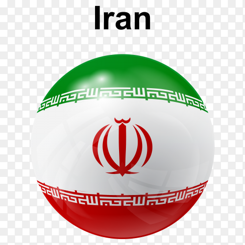 Circle glossy flag of Iran on transparent background PNG