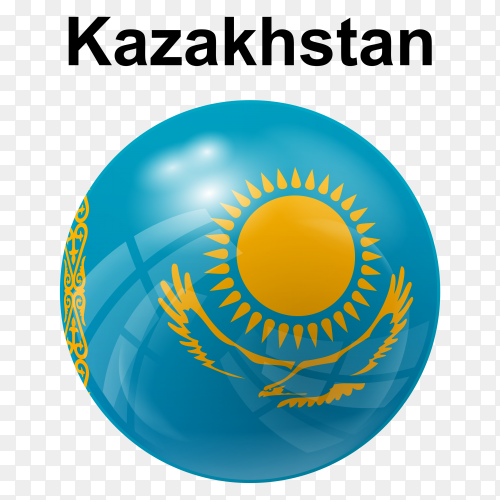 Circle glossy flag of Kazakhstan on transparent background PNG