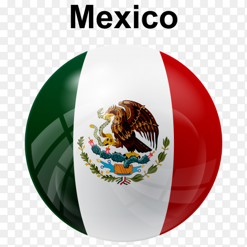 Circle glossy flag of Mexico on transparent background PNG