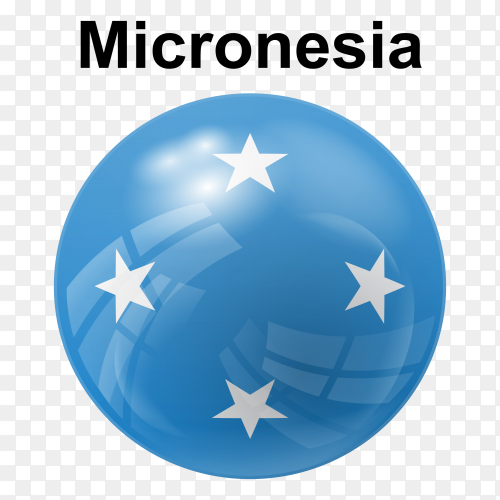 Circle glossy flag of Micronesia transparent PNG