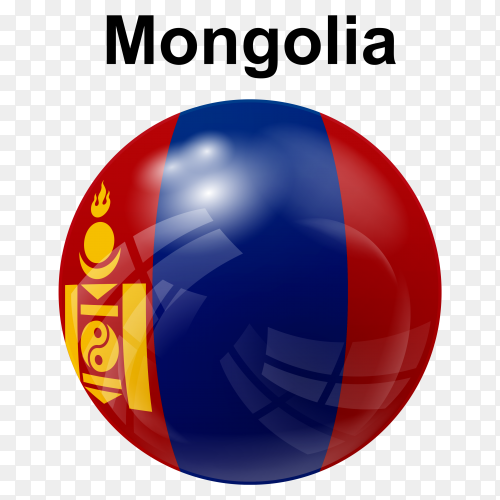 Circle glossy flag of Mongolia on transparent background PNG