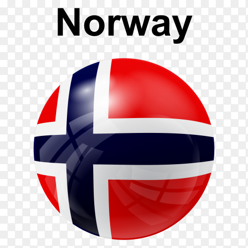 Circle glossy flag of Norway transparent PNG
