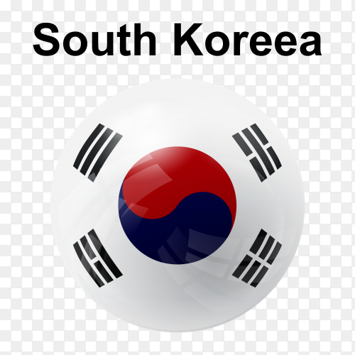 Circle glossy flag of South Korea on transparent background PNG