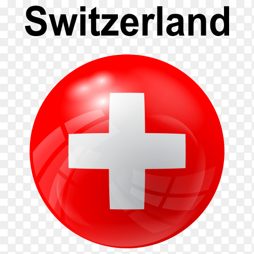Circle glossy flag of Switzerland transparent PNG