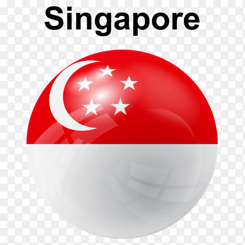 Circle glossy flag singapore transparent PNG