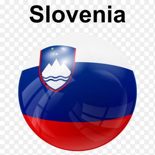 Circle glossy flag slovenia transparent PNG