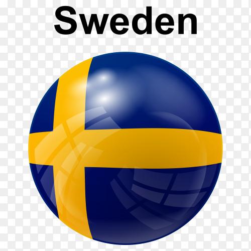 Circle glossy flag sweden transparent PNG