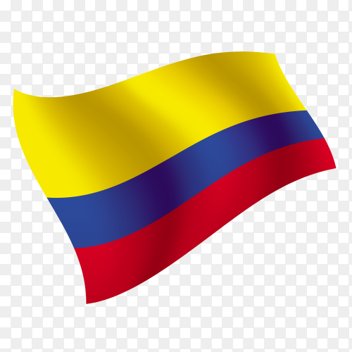 Colombia flag waving vector on transparent background PNG