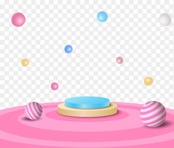 Colorful podium 3d illustration on transparent background PNG