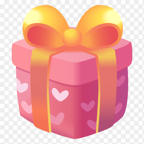 Colour full pink gift box transparent PNG