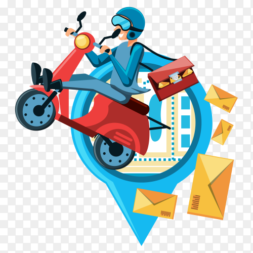 Courier man logistic delivery services motorcycle clipart PNG