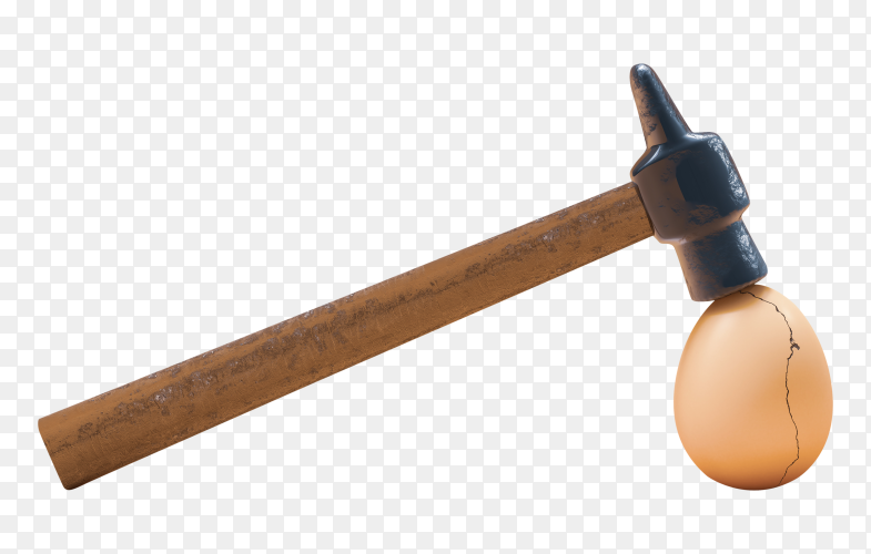Cracked eggshell hit by hammer transparent PNG