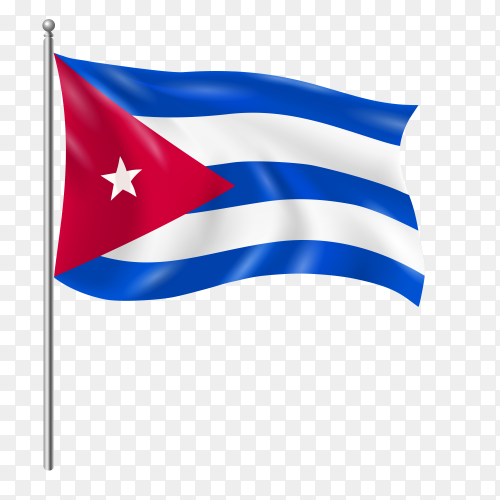 Cuba flag waving vector on transparent background PNG