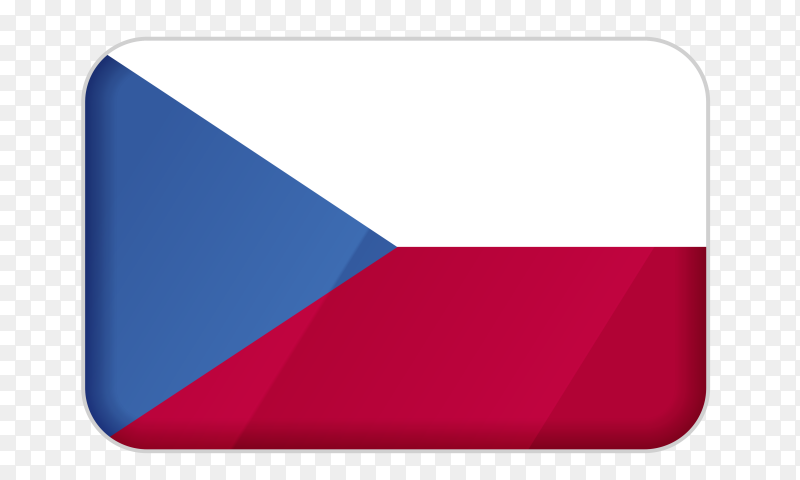 Czech Republic flag icon on transparent background PNG