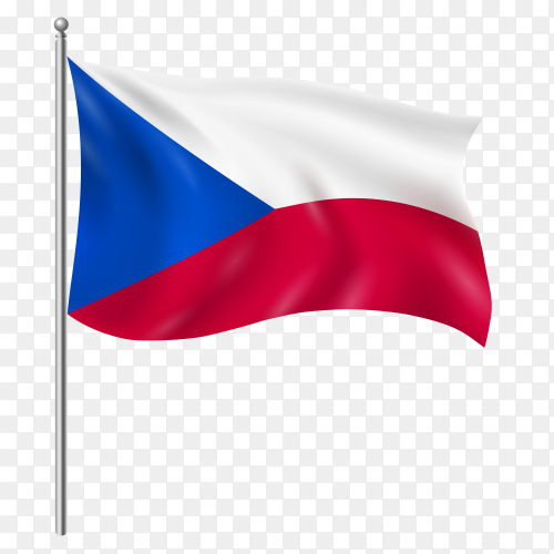 Czech Republic flag waving vector on transparent background PNG