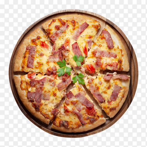 Delicious italian pizza sliced ham bacon cheese – royalty free PNG