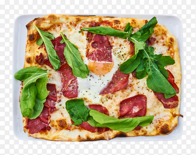 Delicious pizza sliced ham bacon cheese – transparent PNG