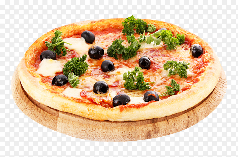 Delicious pizza with olives on transparent background PNG