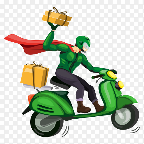 Delivery man with green motorbike illustration transparent PNG