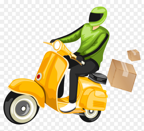 Delivery man with scooter illustration transparent PNG