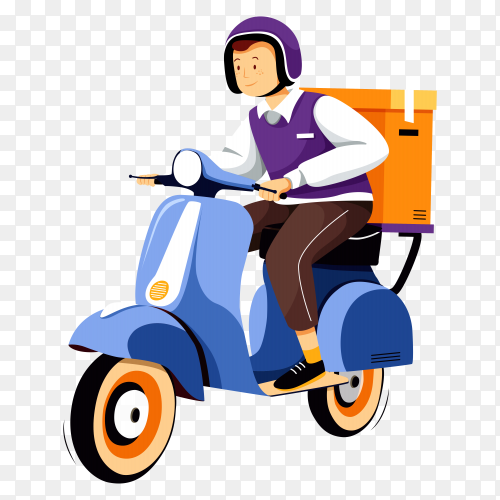 Delivery service motorbike illustration transparent PNG
