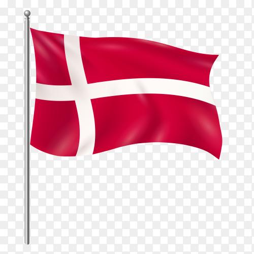 Denmark flag waving vector on transparent background PNG