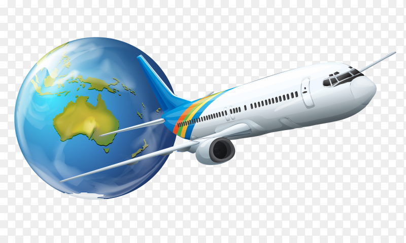 Earth globe with airplane transparent PNG