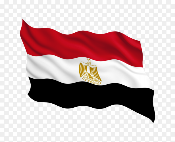 Egypt flag waving on transparent background PNG