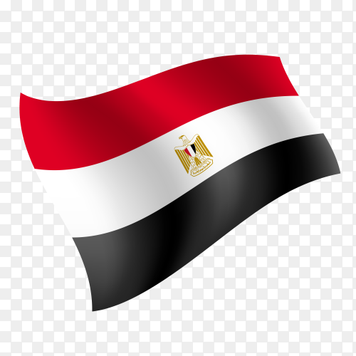 Egypt flag waving vector on transparent background PNG