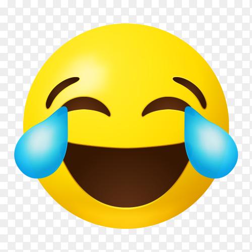 Emoji face with tears joy on transparent background PNG