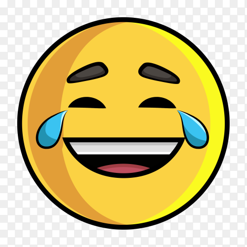 Emoji laughing with tears transparent PNG