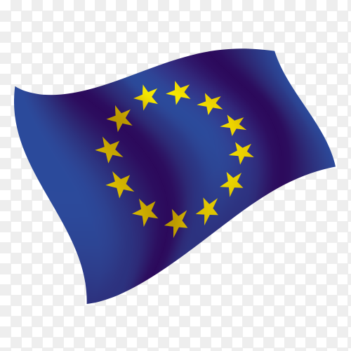 European Union flag waving vector on transparent background PNG