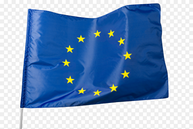 European flag waving on transparent background PNG
