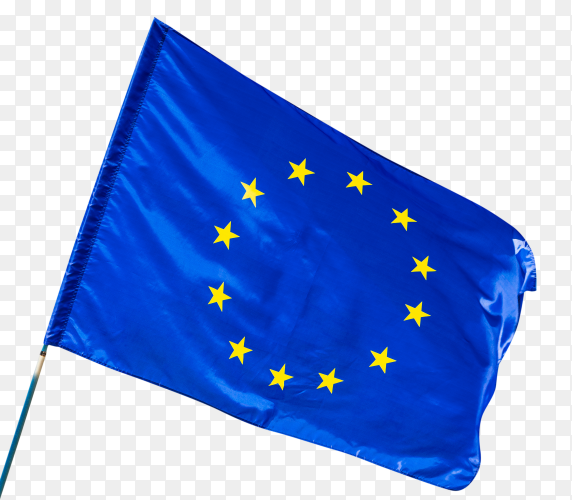 European union flag waving on transparent background PNG