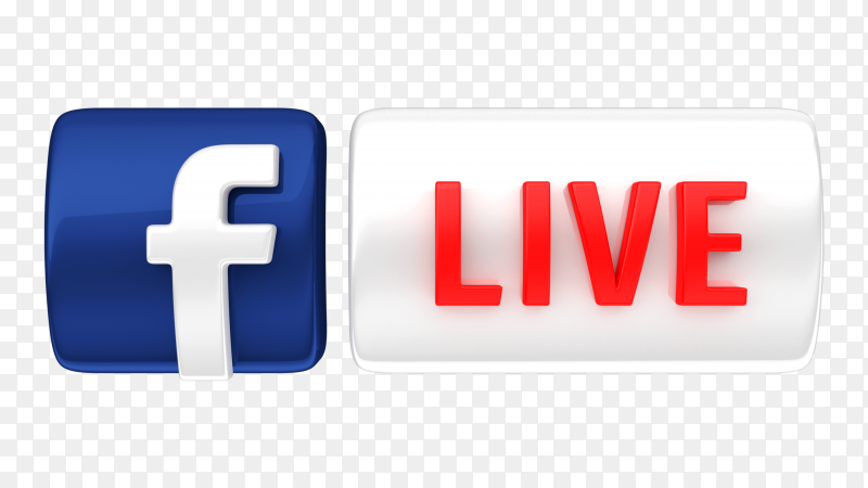 Facebook live icon 3d royalty free PNG